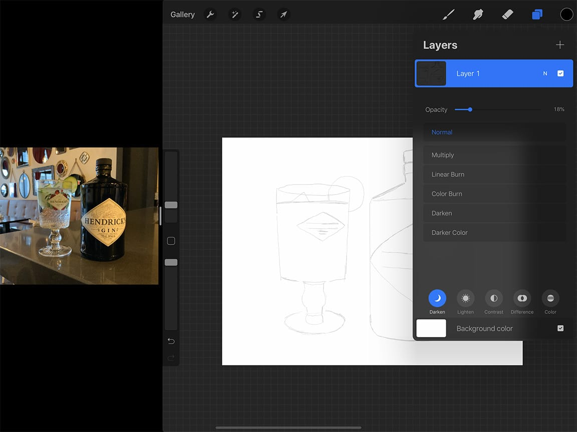 Procreate tutorial: the steps for how to draw a bottle are nearly the same on iPad Pro as they would be on paper.