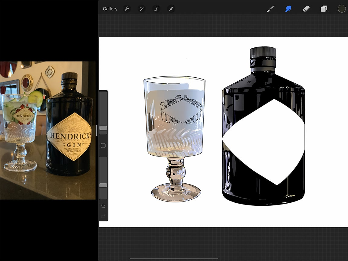 Procreate tutorial: The tools offered by Procreate make complicated drawings like reflections on glass much easier to handle.