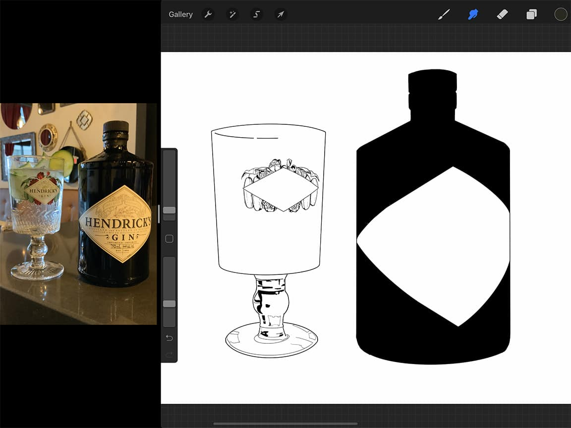 Procreate tutorial: Outlines are an important first step in how to draw a bottle, but they are only the beginning!