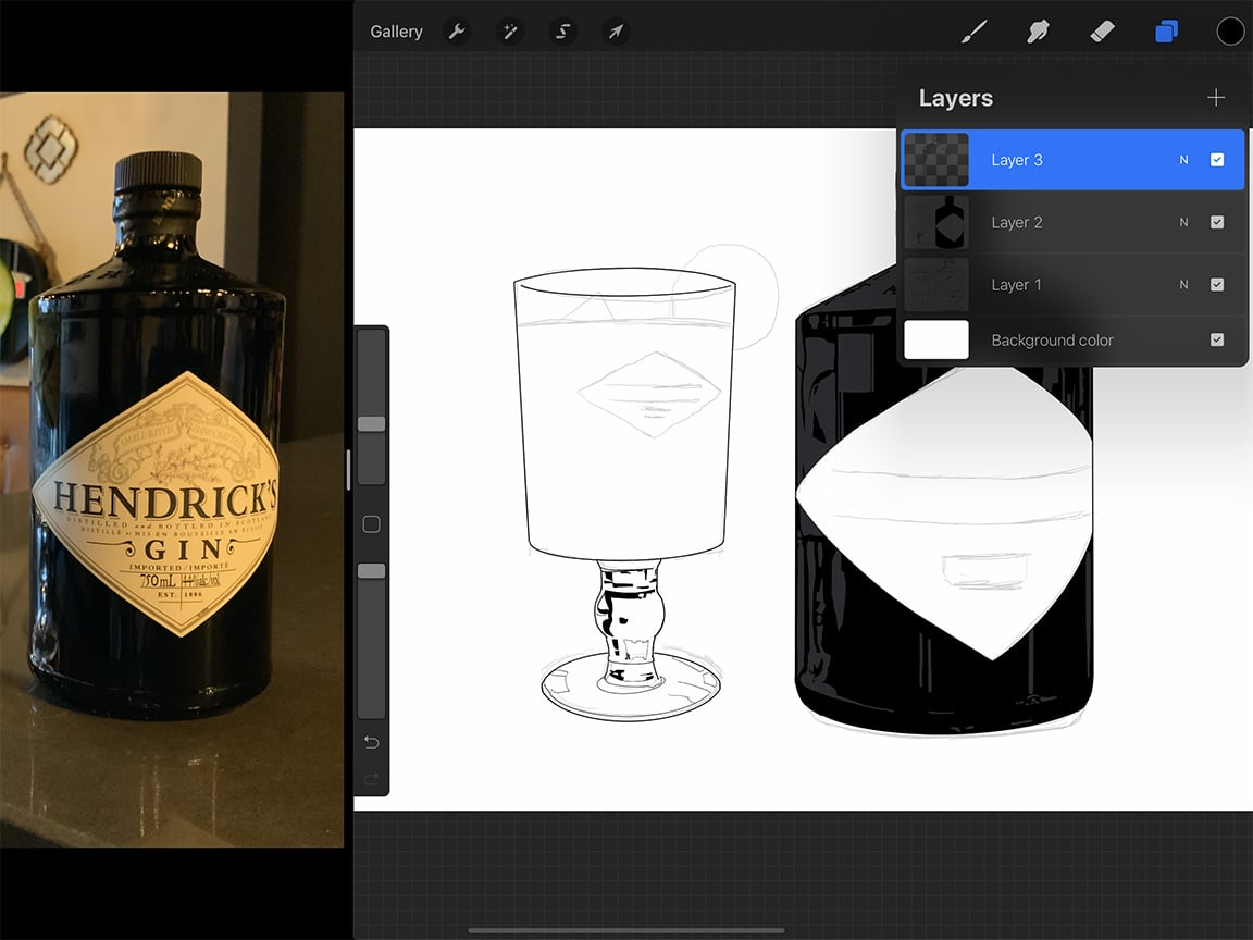 "Special digital drawing features like the ""alpha lock"" are an advantage to drawing a bottle or glass on Procreate."
