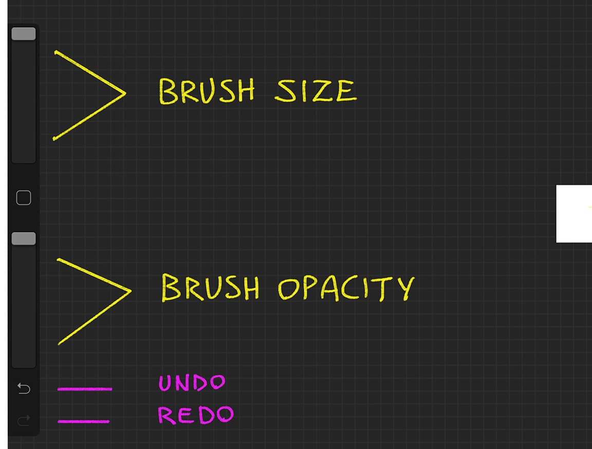 Procreate Tutorial: brush size and brush opacity sliders are also important tools.