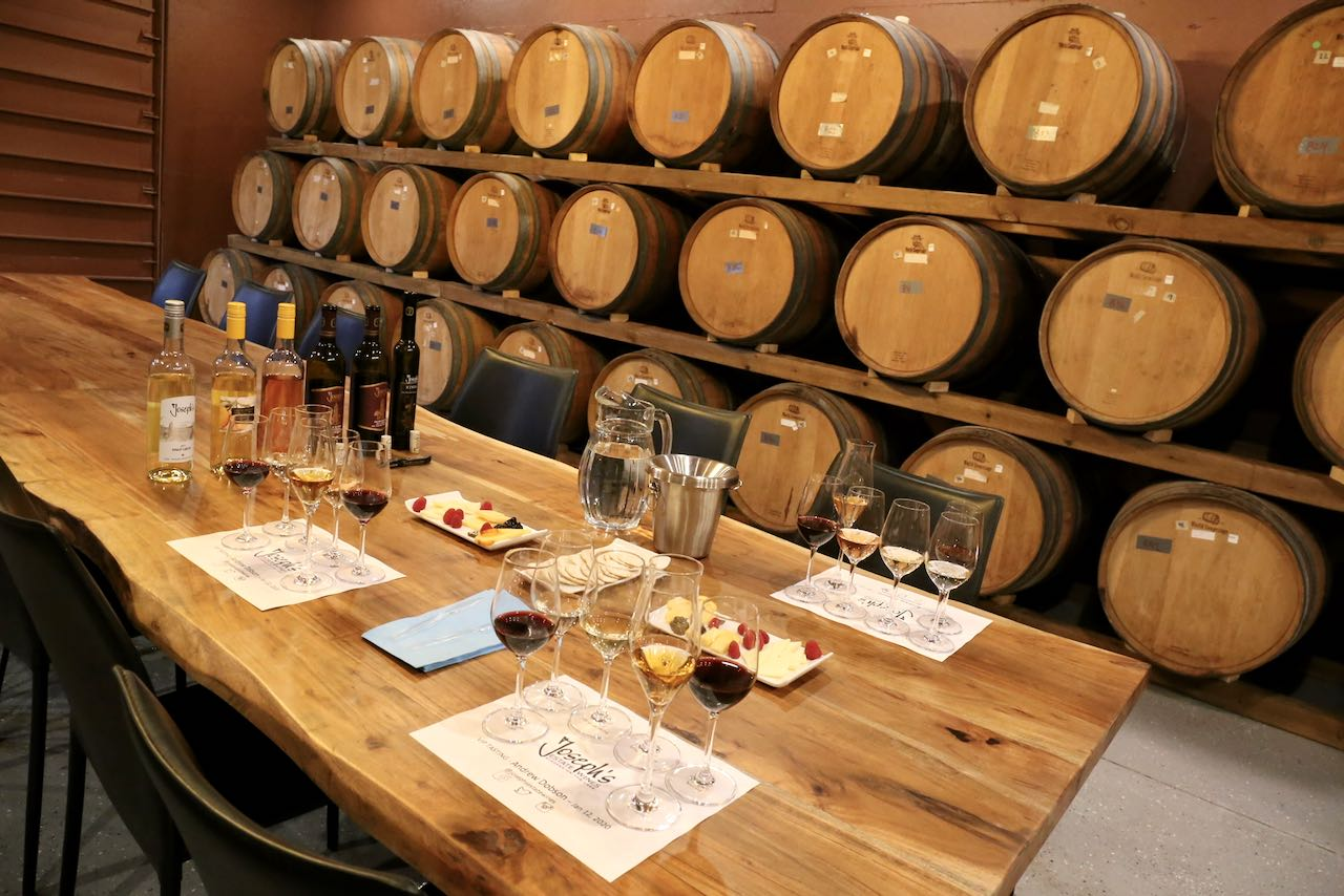 Enjoy a VIP wine tasting at Joseph's Estates Wines barrel room.