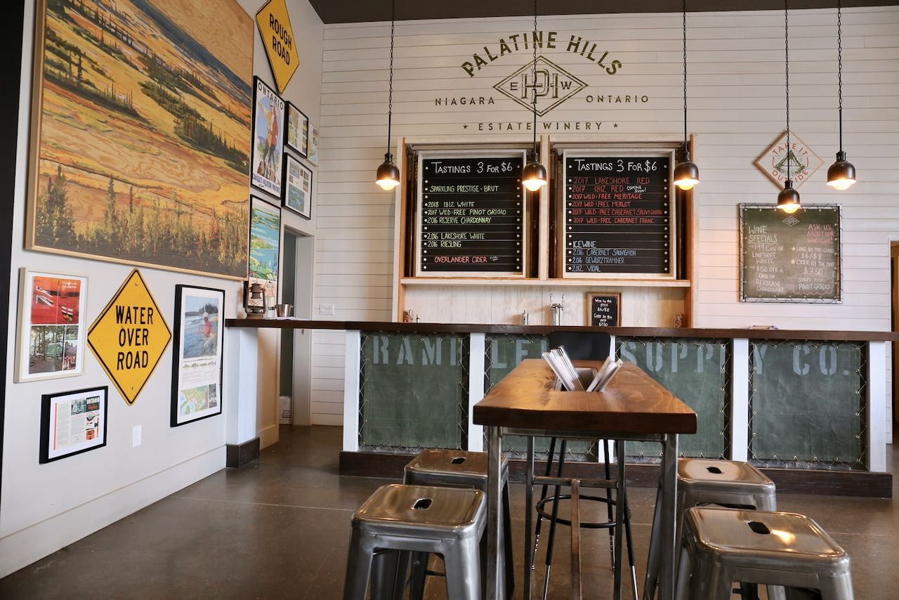 Palatine Hills Estate Winery's interior feels like a trendy craft brewery.