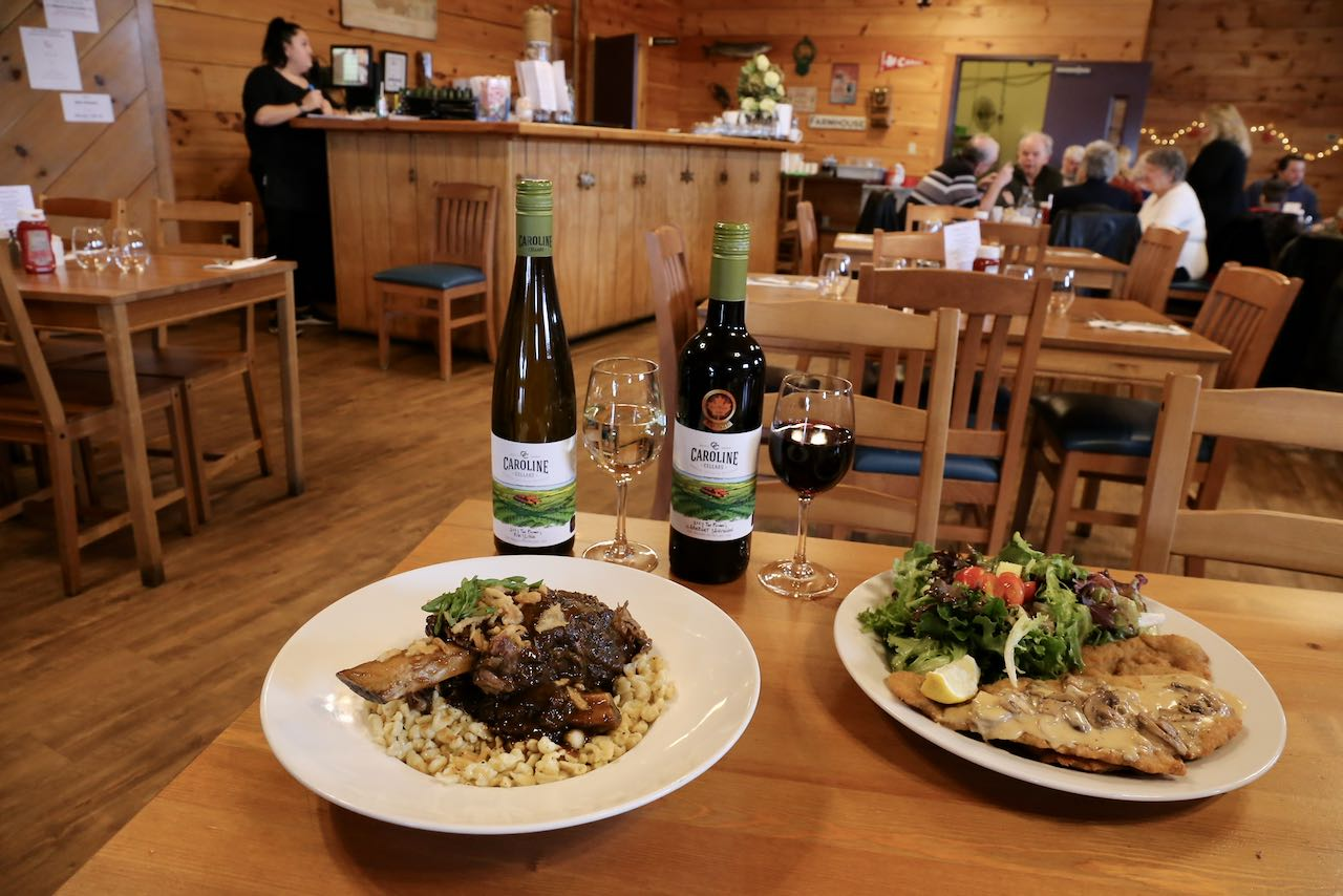 Enjoy authentic German dishes paired with Niagara wine at Caroline Cellars' Farmhouse Cafe.
