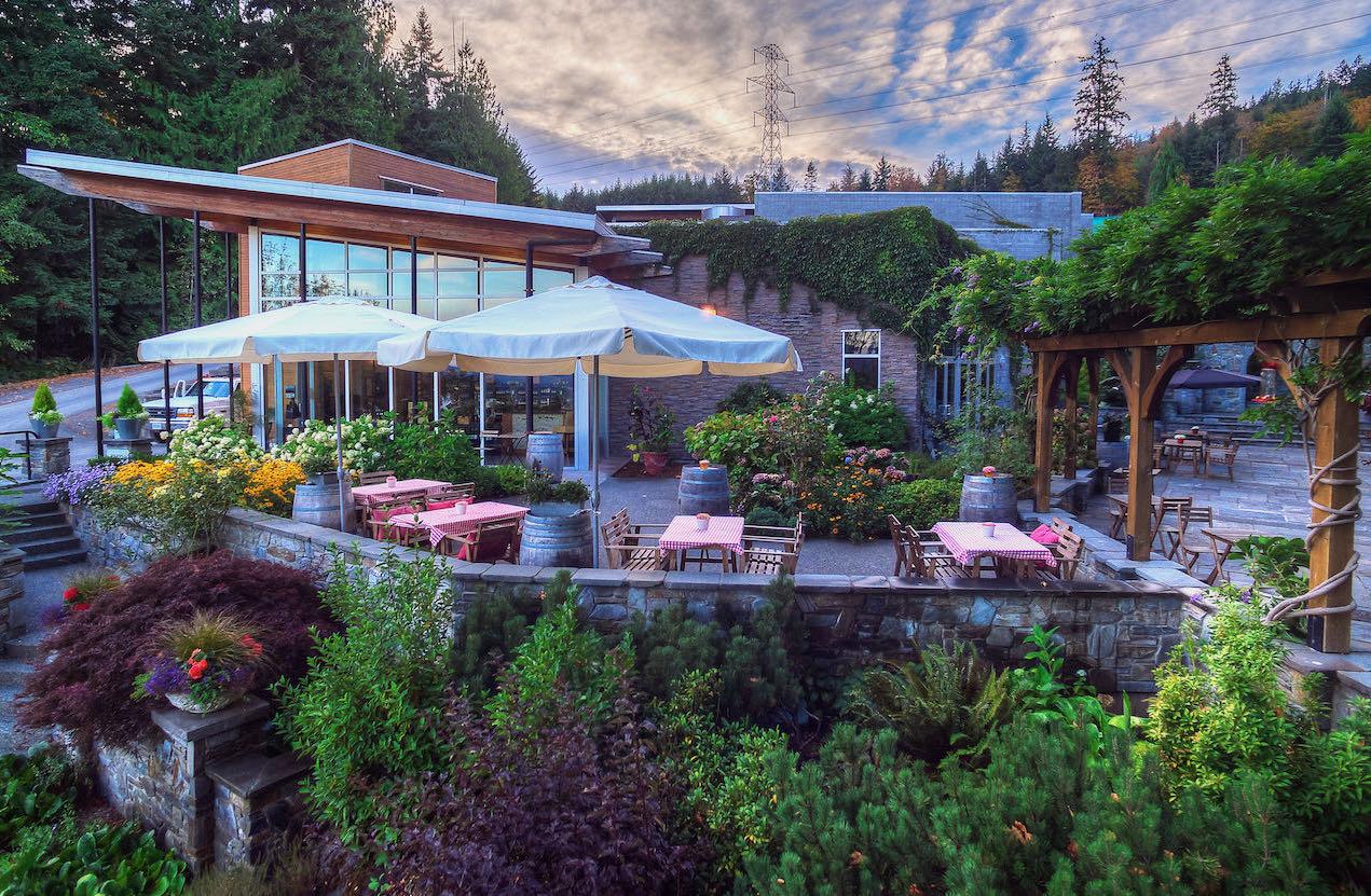 Averill Creek Vineyard's outdoor patio in Cowichan Valley, British Columbia.