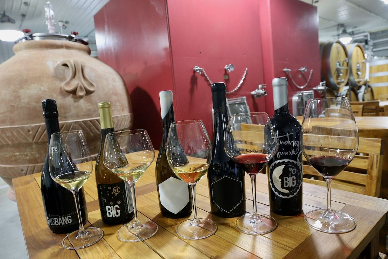 Enjoy a tasting of red, white and sparkling wines at Big Head Wines.