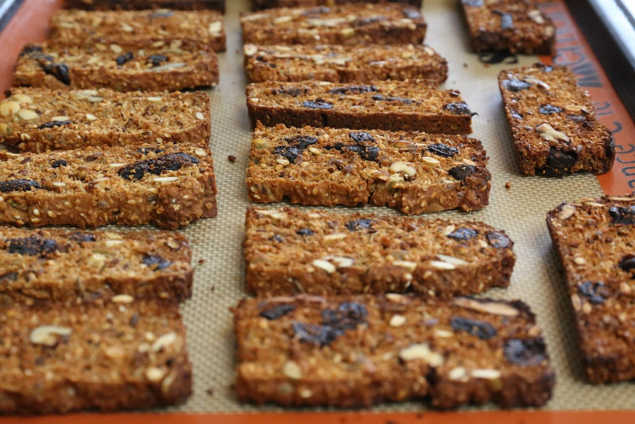 Raincoast Crisps get their healthy crunch because they are twice-baked like biscotti.