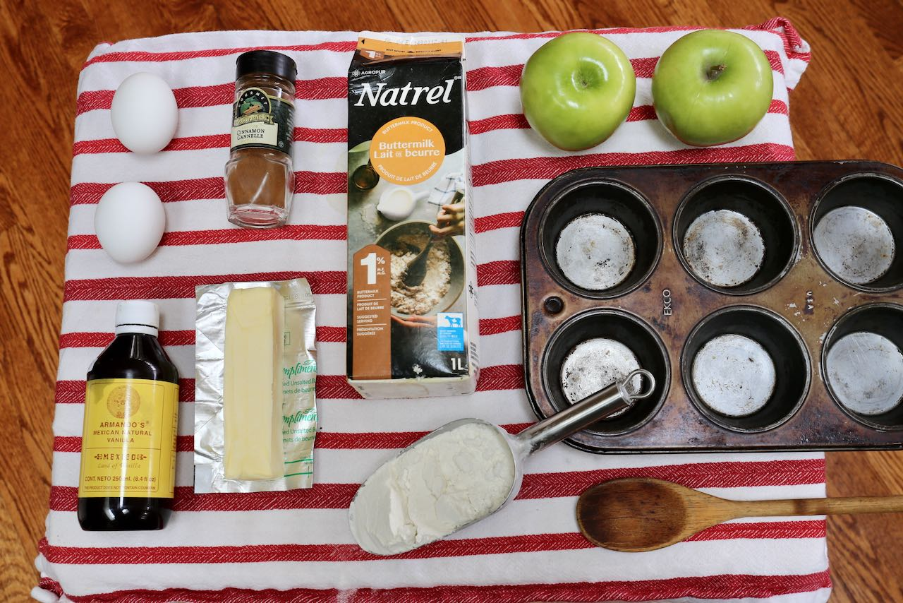 Ingredients you'll need to make homemade Apple Fritter Muffins.