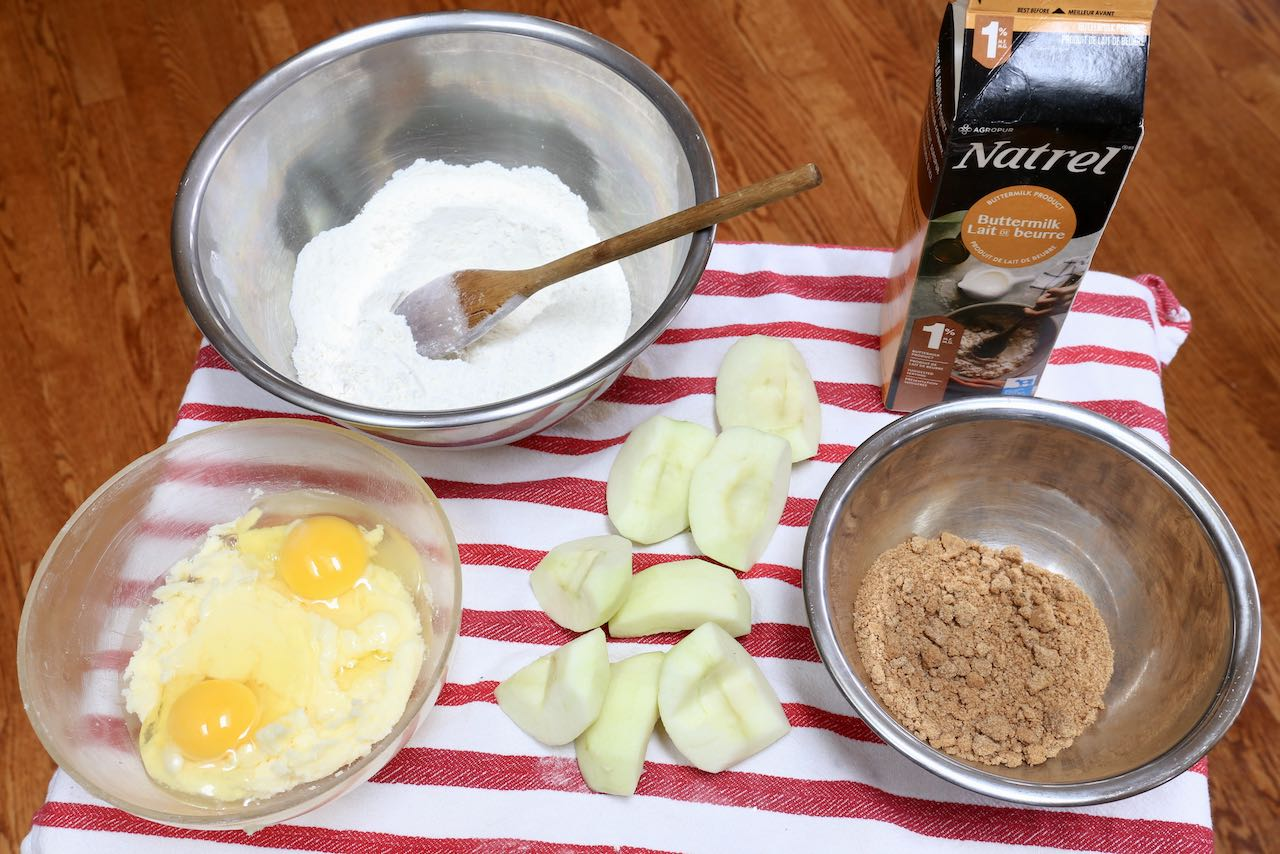 Prepare Apple Fritter Muffins by mixing the dry and wet ingredients in separate bowls.