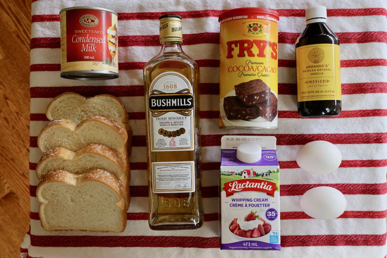 Ingredients you'll need to make homemade Baileys French Toast.