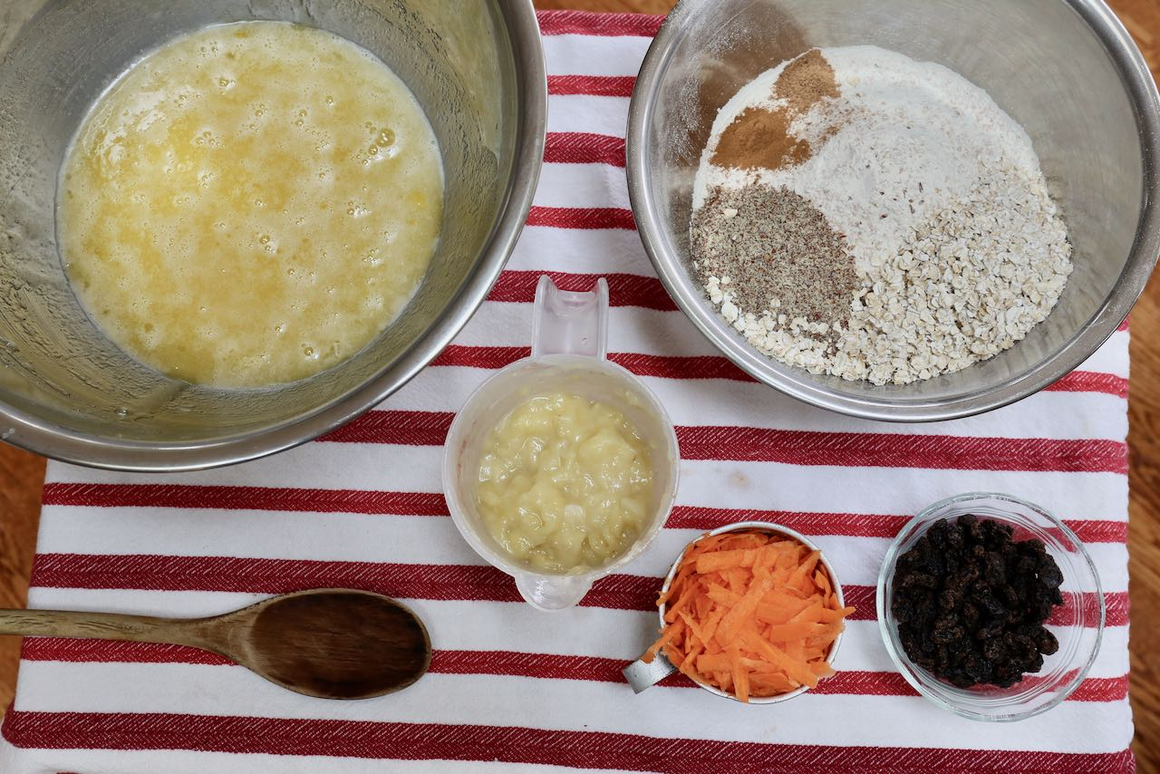 Prepare wet and dry ingredients in separate mixing bowls.