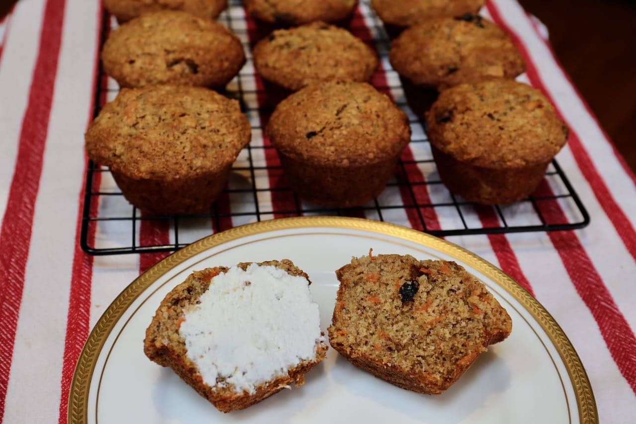 Enjoy Banana Carrot Muffins slathered in ricotta cheese or butter.