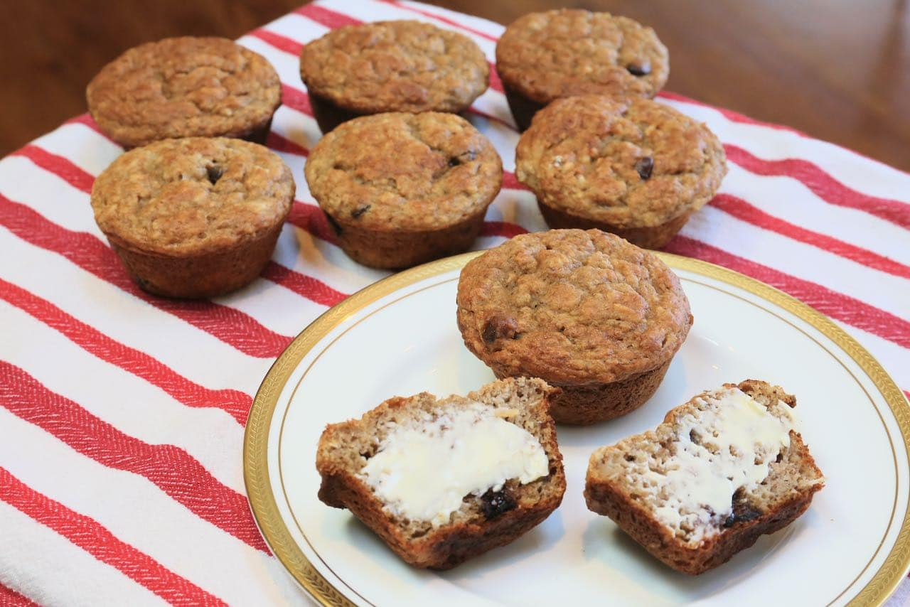 We suggest spreading Banana Oat Chocolate Chip Muffins with butter, cream cheese or ricotta.