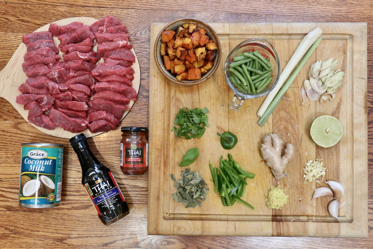 Ingredients you'll need to make our Thai Beef and Pumpkin Curry recipe.
