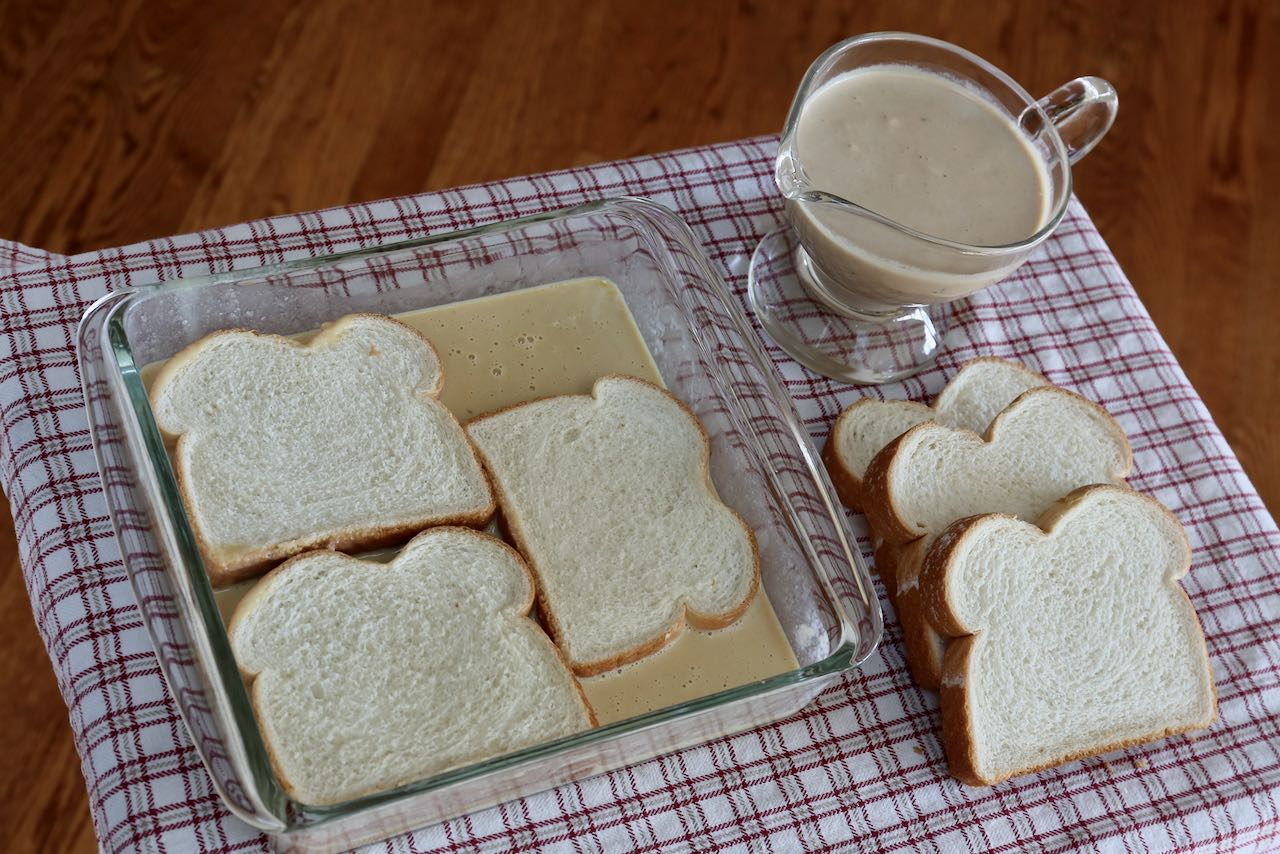 Let bread slices soak in homemade Baileys and egg mixture.
