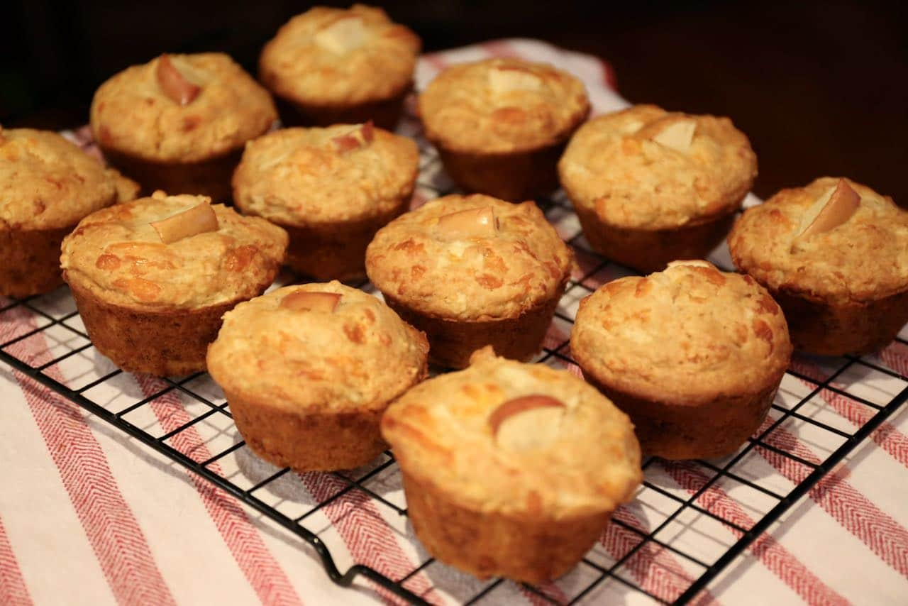 Let your Cheddar Apple Muffins rest on a cooling rack before serving.