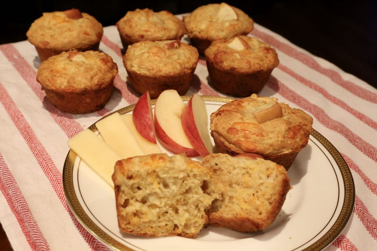 Serve  your muffins with aged cheddar cheese and apple slices.