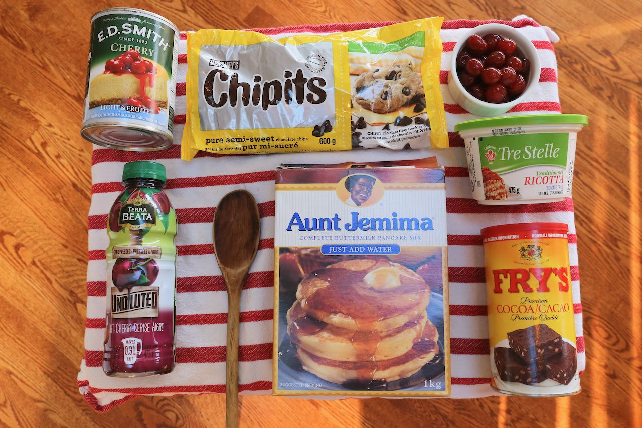 Ingredients you'll need to make easy and quick Cherry Pancakes.