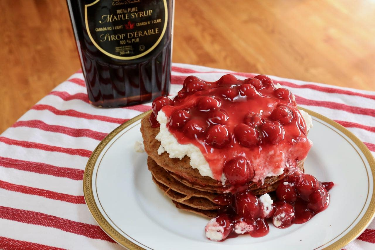 Best Homemade Chocolate Cherry Pancakes with Ricotta