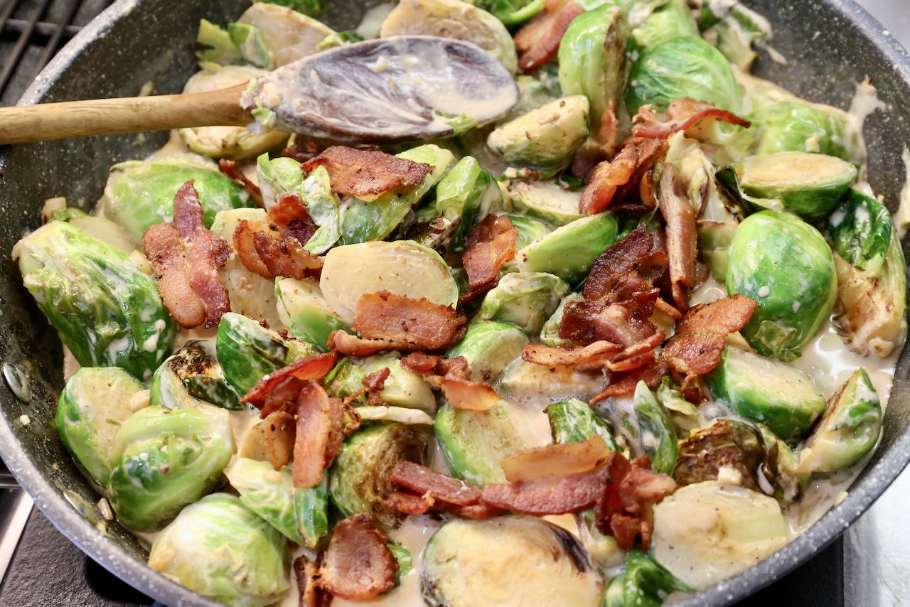 Low carb Keto Brussels Sprouts feature bacon, cream and cheese.