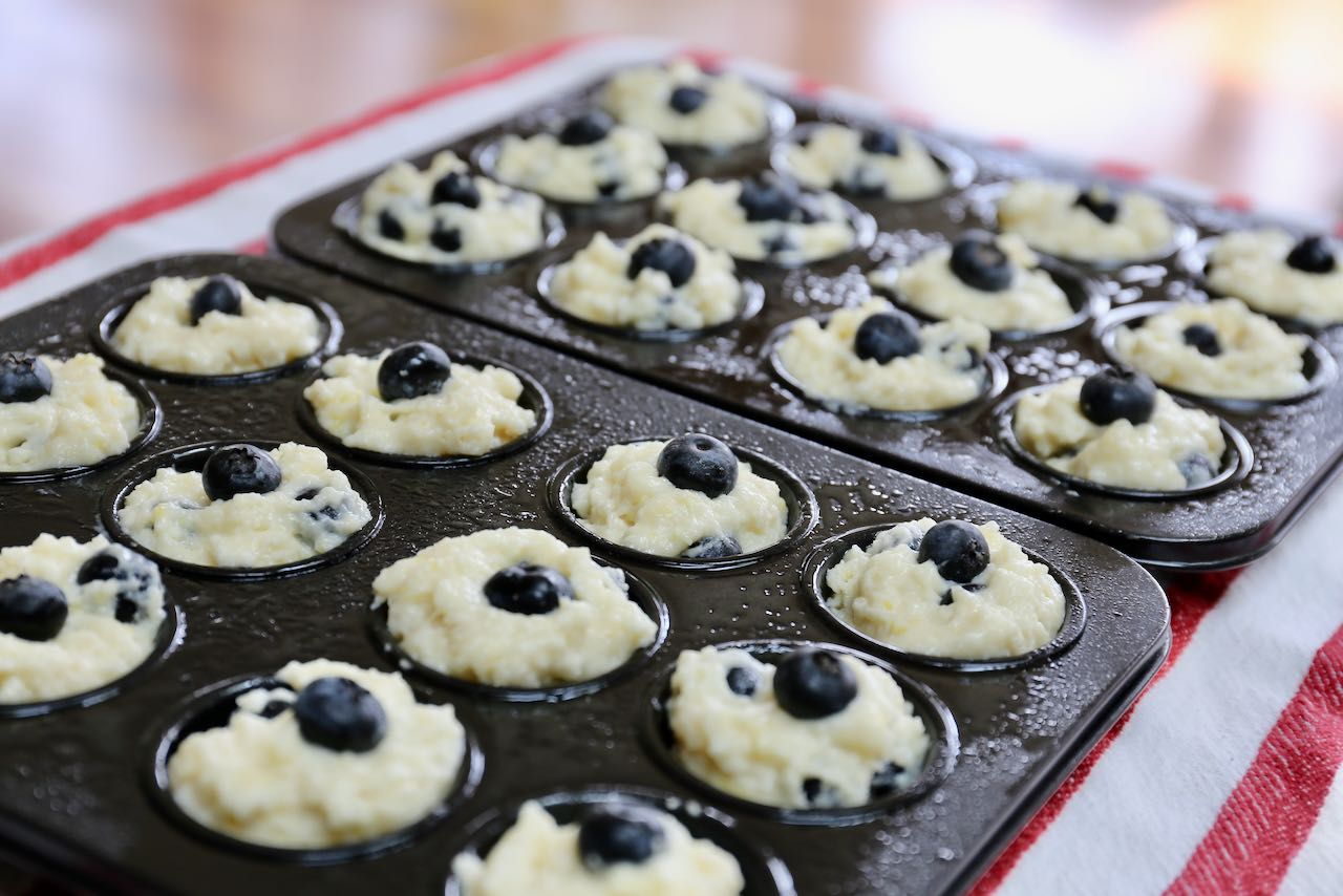 Mini Blueberry Muffins ready to bake in the oven.