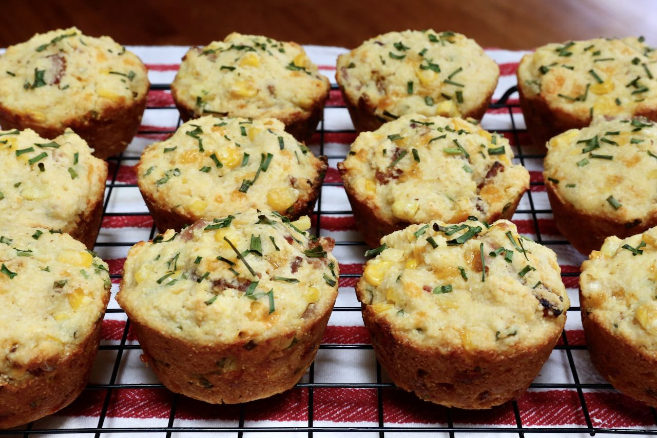 Let your Cheese Bacon Muffins rest on a cooling rack before serving.