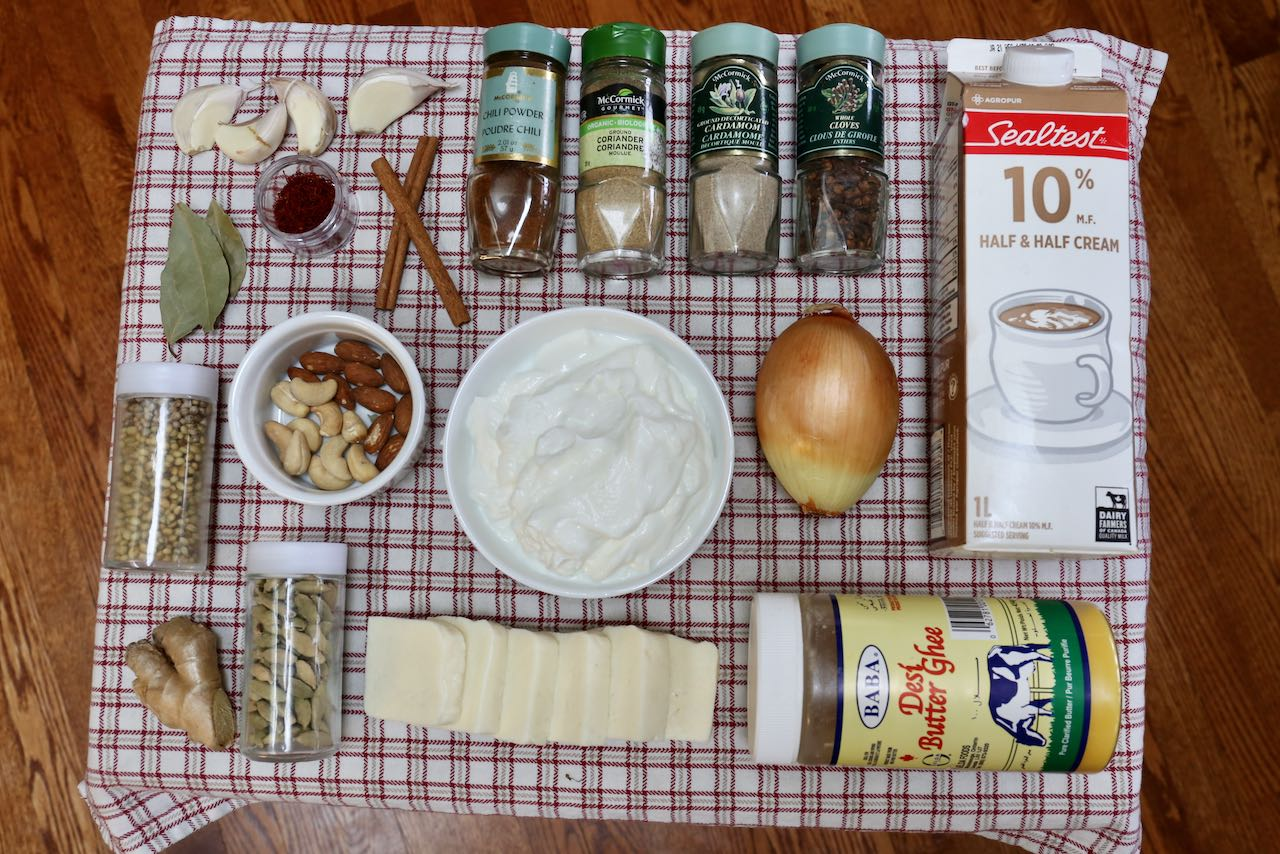 Ingredients you'll need to make our vegetarian Shahi Paneer recipe.