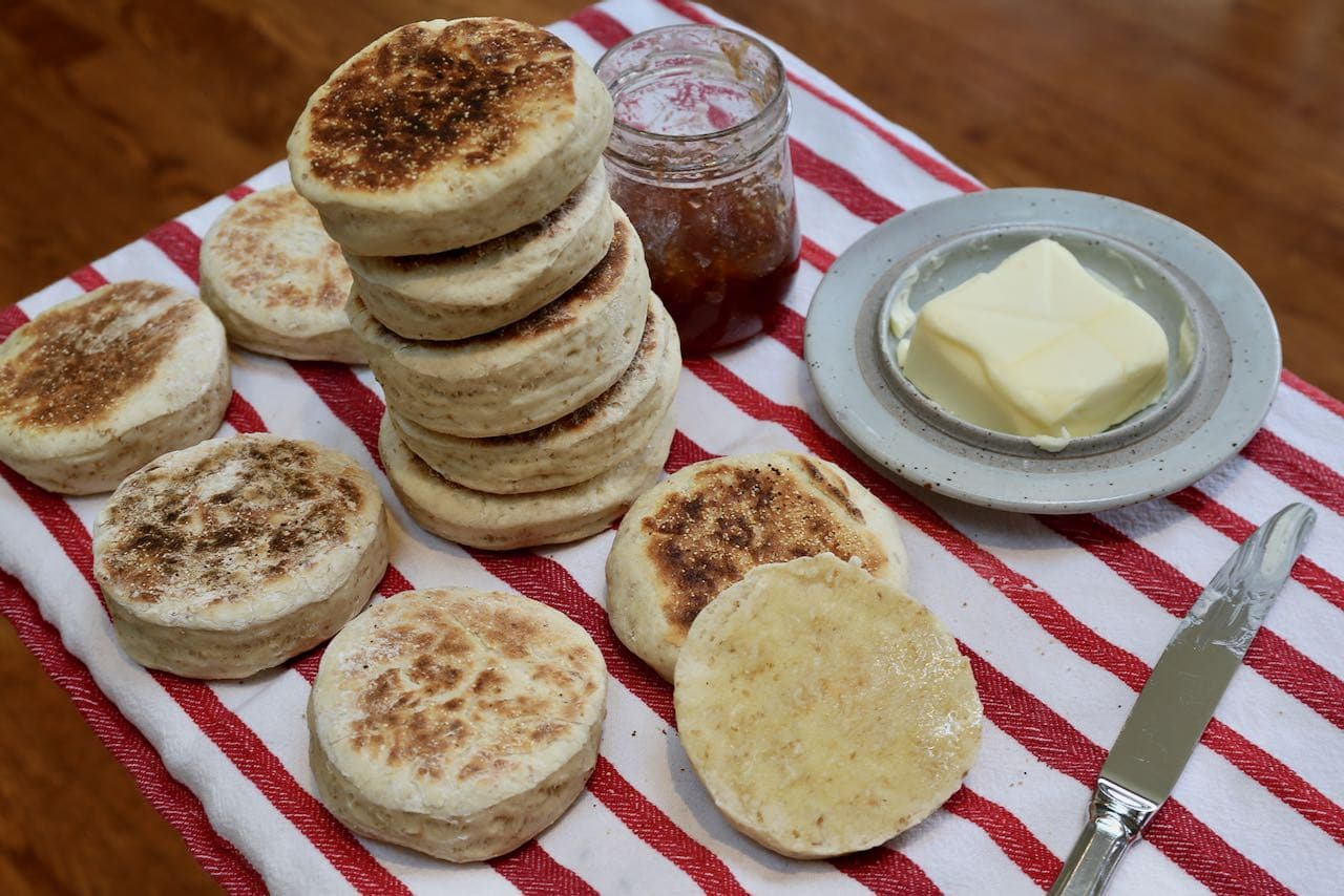Sourdough Discard Recipes: Make easy English Muffins at home.