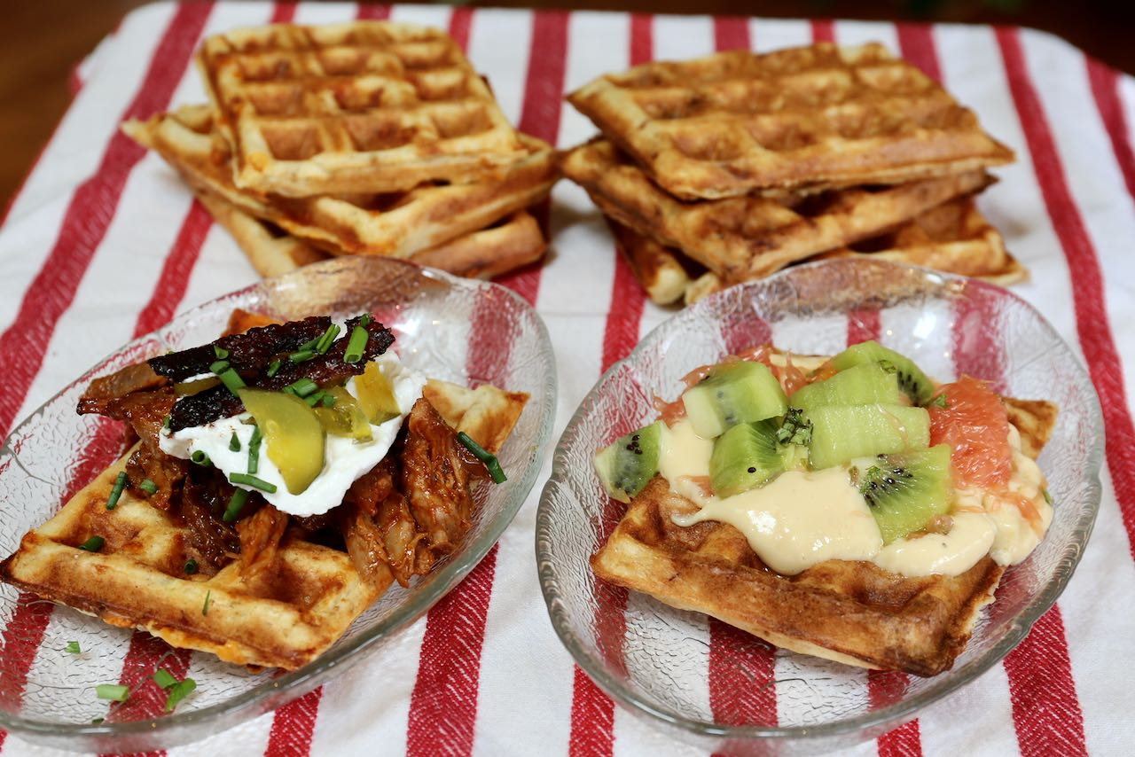 Prepare this sweet or savoury waffle recipe with leftover sourdough discard.