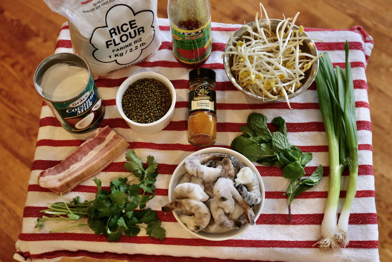 Ingredients you'll need to make Vietnamese Crepe Bánh Xèo.