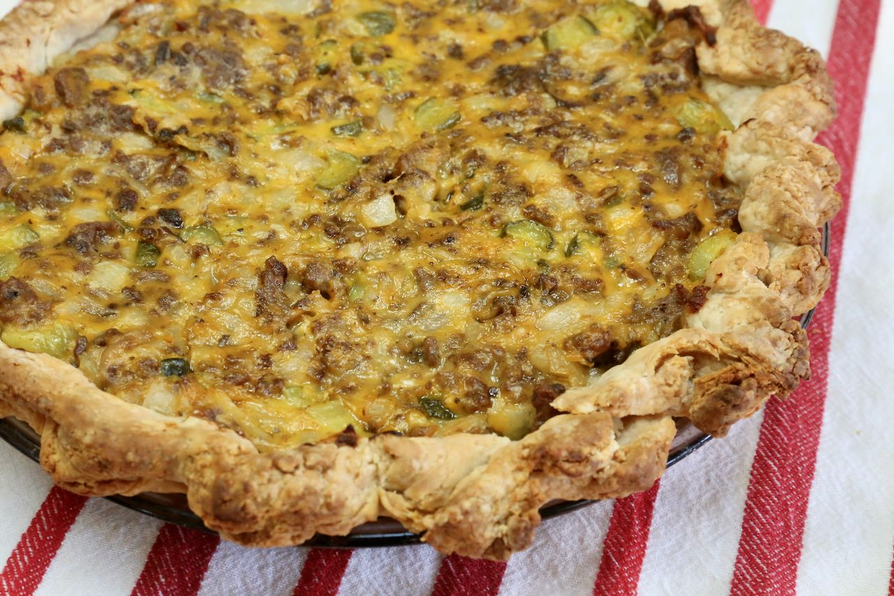Remove Pickle Pie from oven once the crust has browned and texture is flaky.