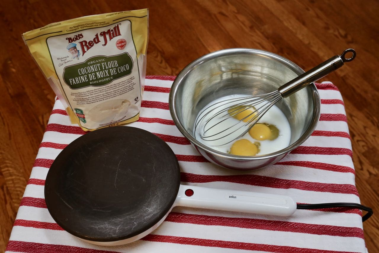 Use an electric crepe pan or non-stick skillet to prepare Coconut Flour Crepes.