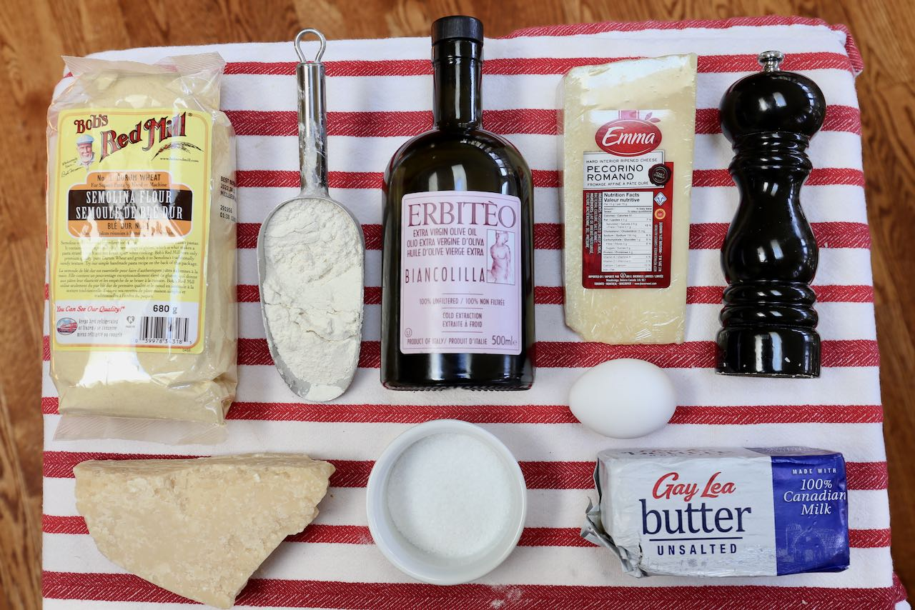 Ingredients you'll need to make Pici Cacio e Pepe.