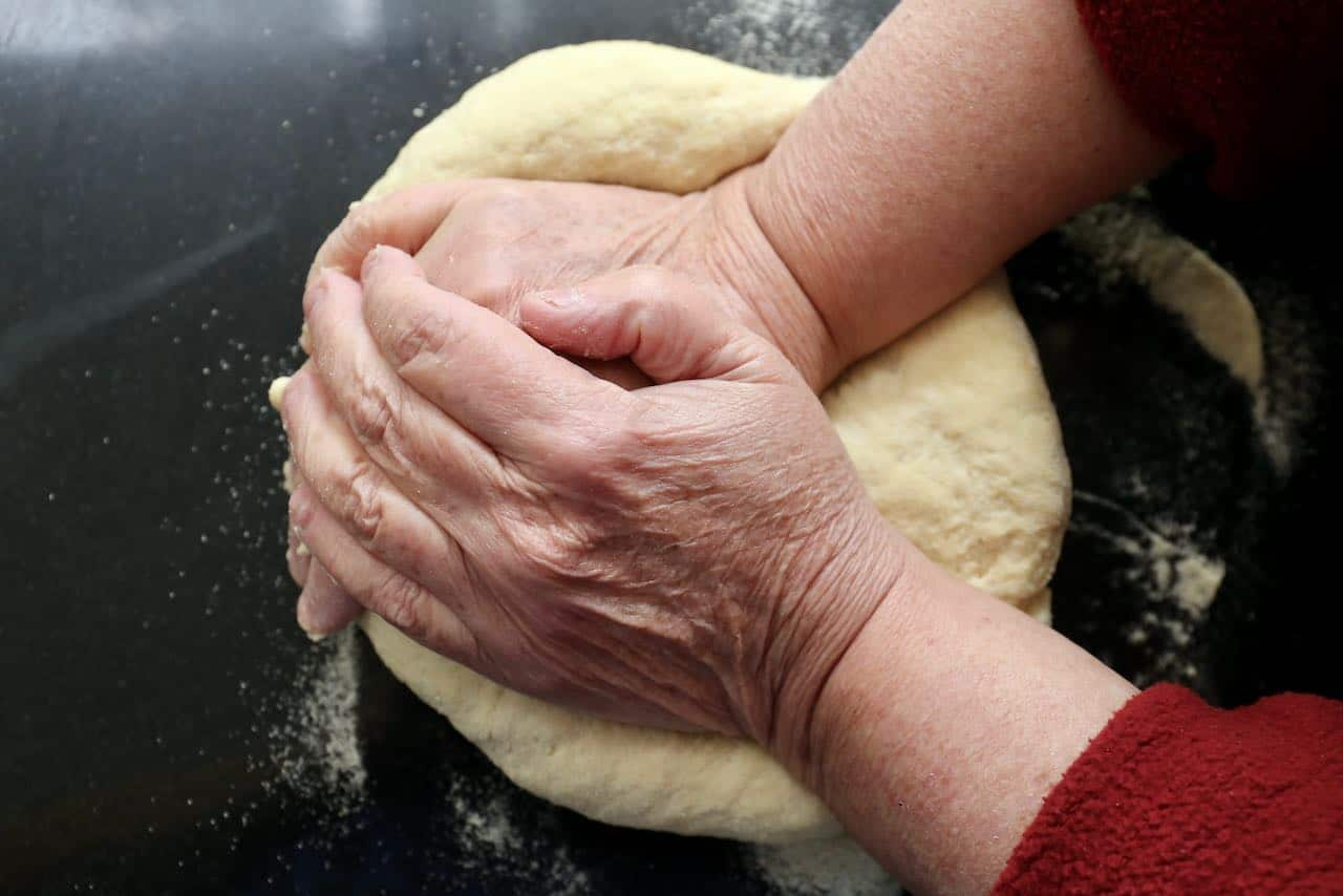 Knead pici pasta dough for 10 minutes then wrap and rest in the fridge for 2 hours.