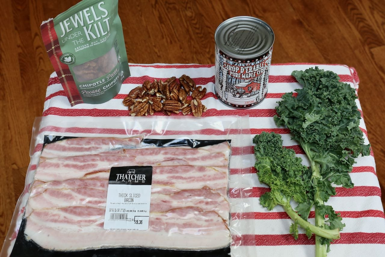 Canadian Salad: Bacon, Pecans and Kale from Ontario with Maple Syrup from Quebec.