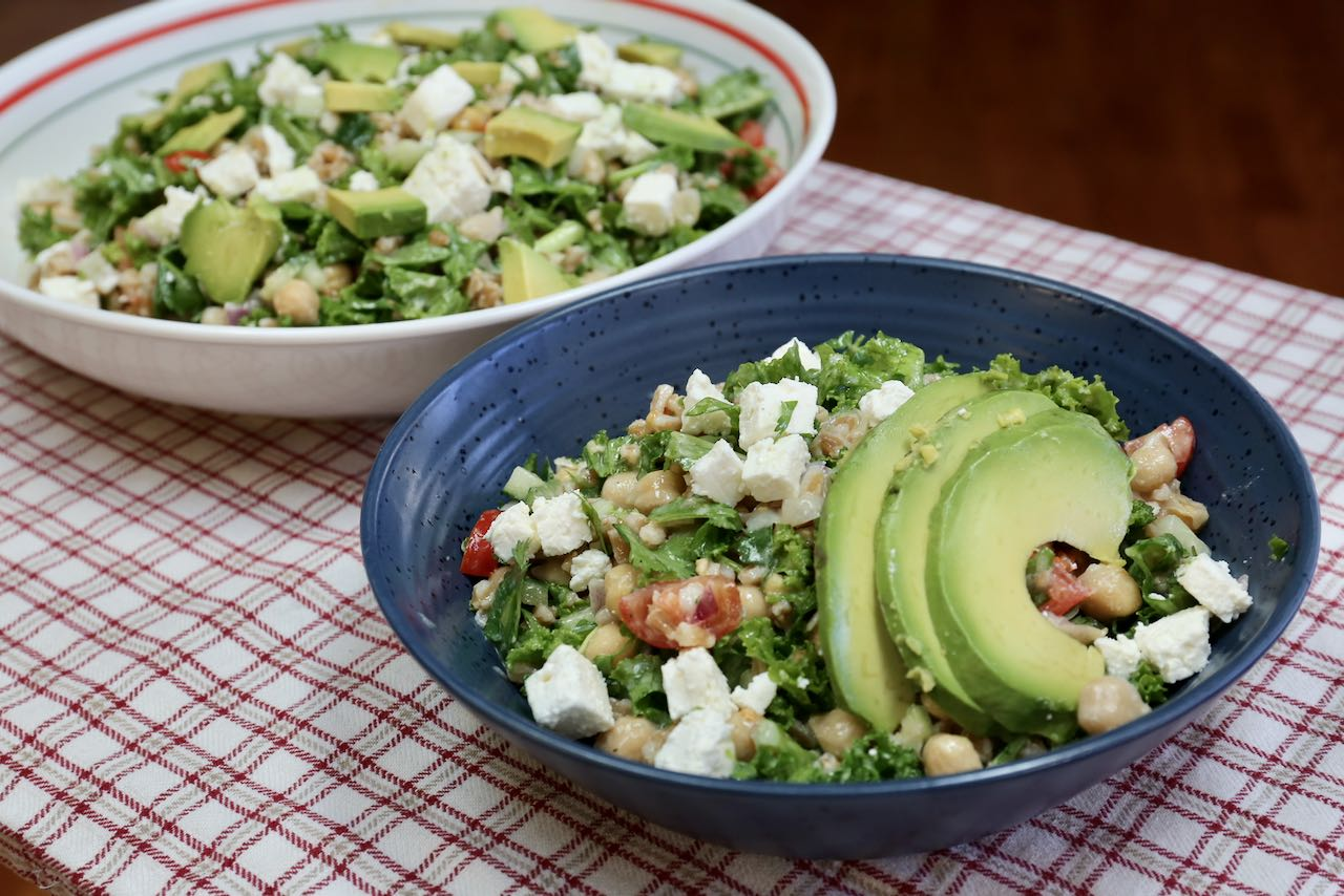 Serve Chickpea Avocado Salad family-style at dinner or enjoy a healthy lunch in your own bowl.