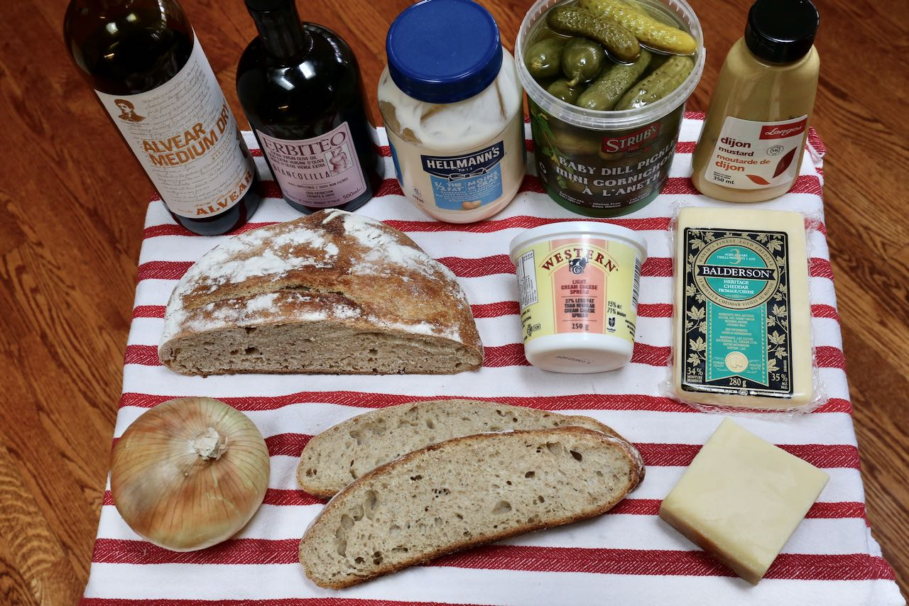 Ingredients you'll need to make our Crispy Gruyere Grilled Cheese Recipe.