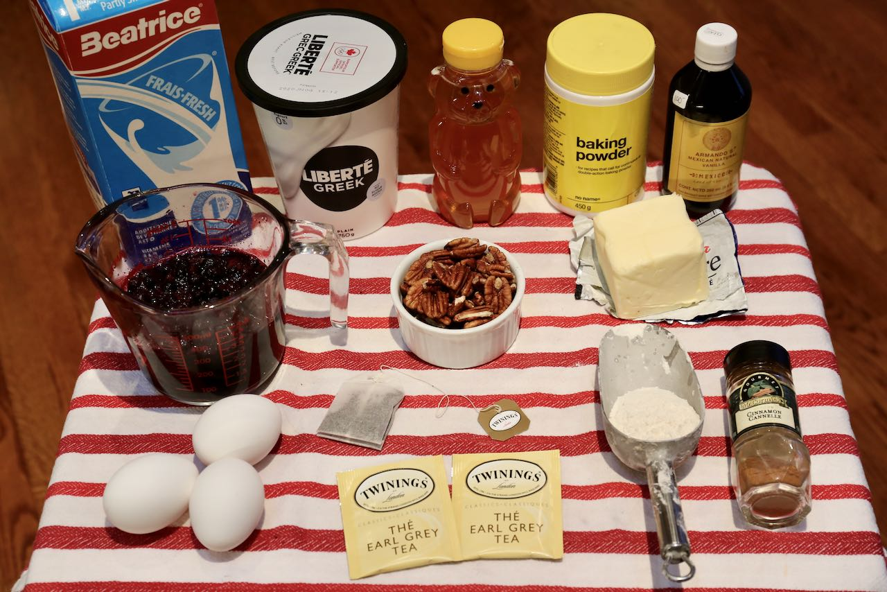 Ingredients you'll need to make our Blueberry Earl Grey Muffins recipe.