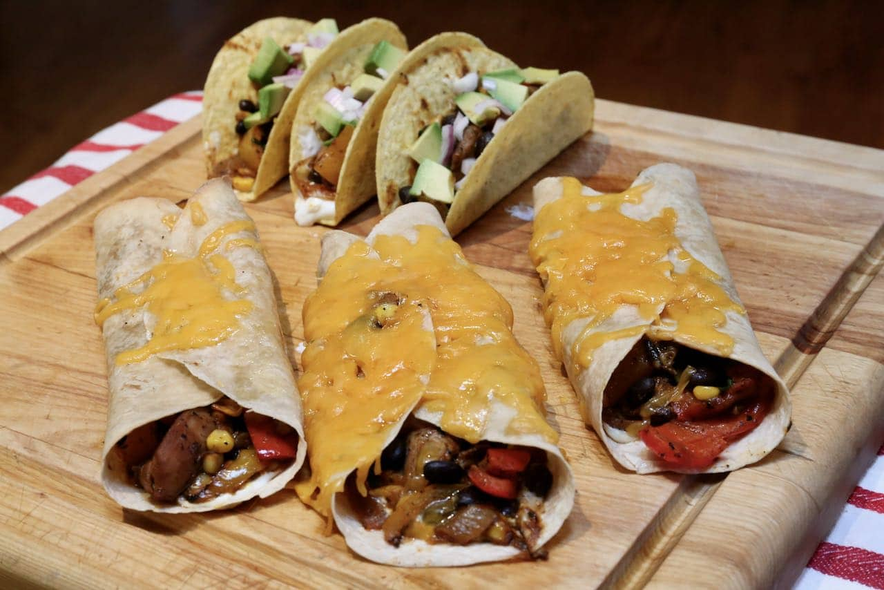 The Chicken Fajita filling can be enjoyed in soft shell tortillas or hard shell tacos.