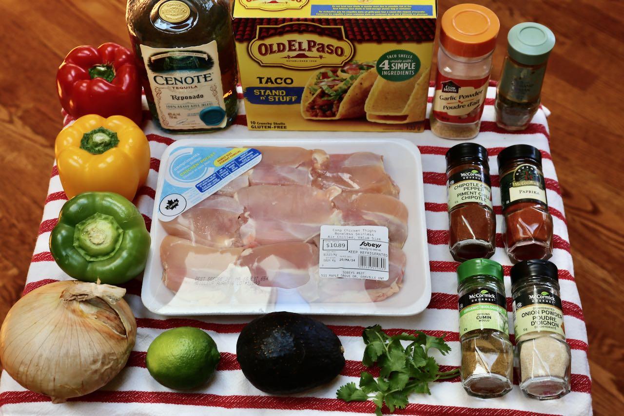 Ingredients you'll need to make Chicken Fajita Tacos.