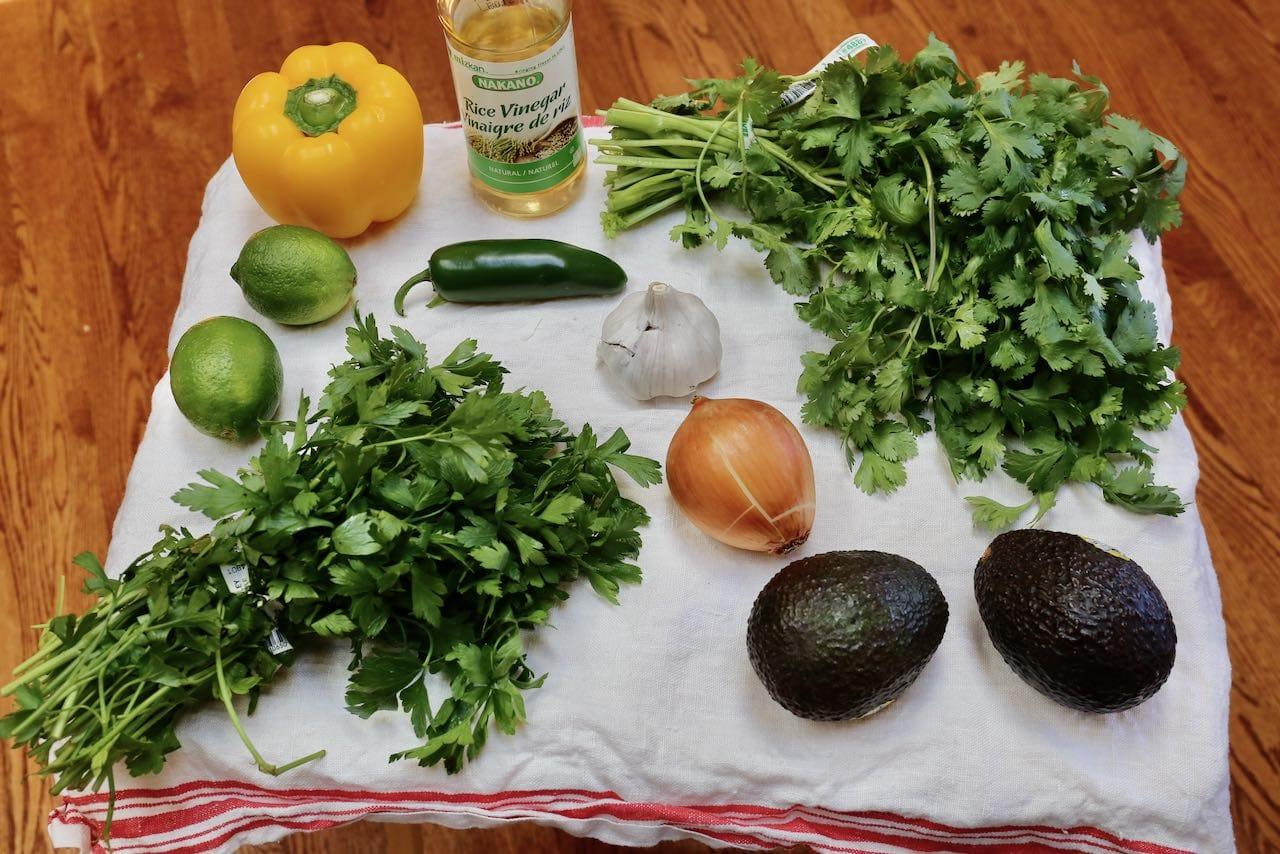 Ingredients you'll need to make Guasacaca Sauce.
