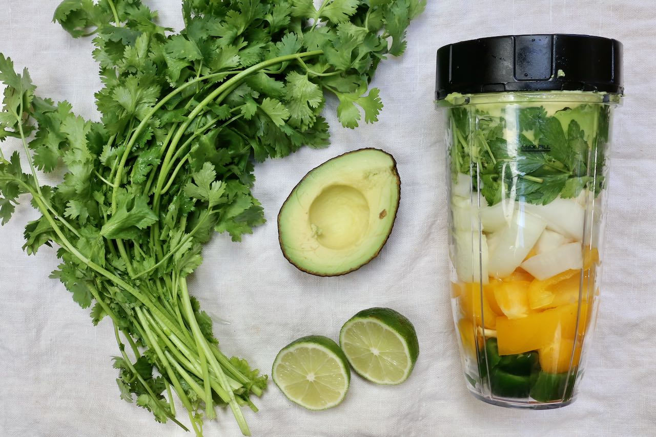 How To Make Guasacaca: Blend raw vegetables in a blender until fully combined, 2-3 minutes.