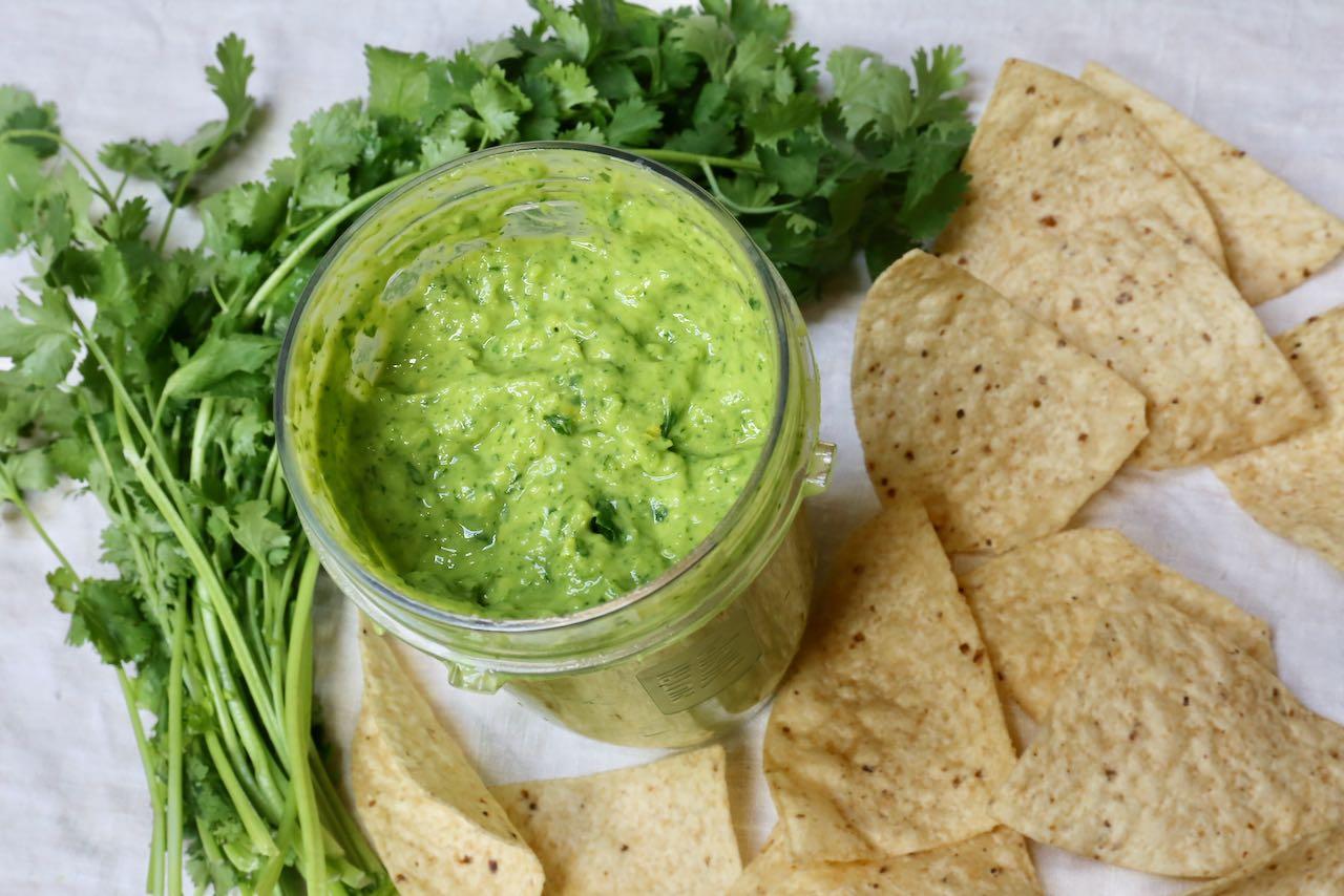 "Serve Guasacaca, ""Venezuelan Guacamole"" with nachos for a quick vegetarian & vegan snack."