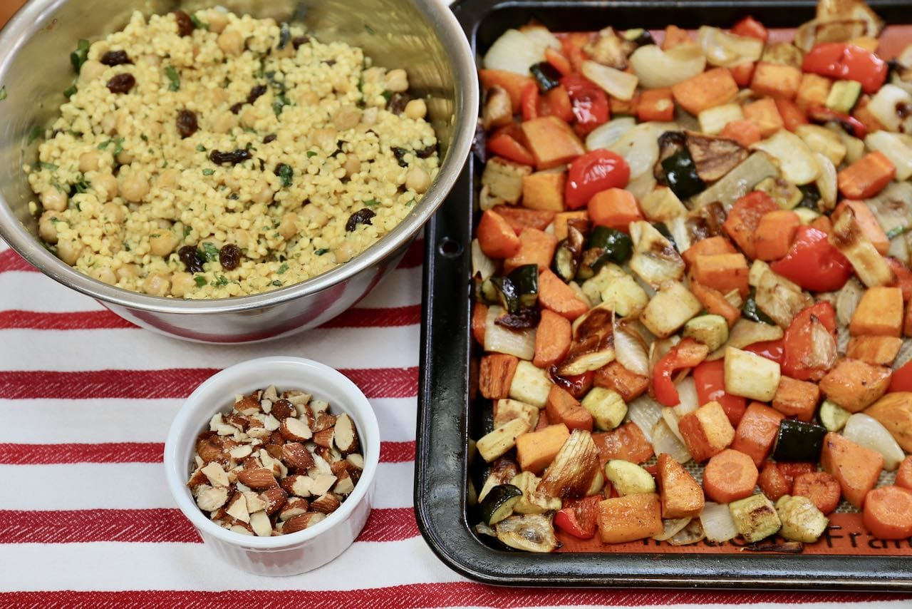 Let couscous and roasted vegetables cool before assembling the warm Moroccan salad.