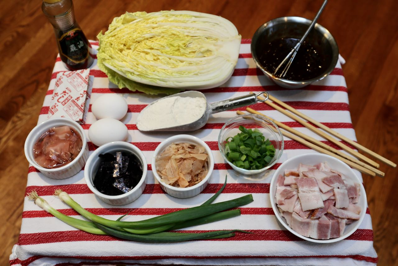 Ingredients you'll need to make our Japanese Cabbage Pancake with Pork.
