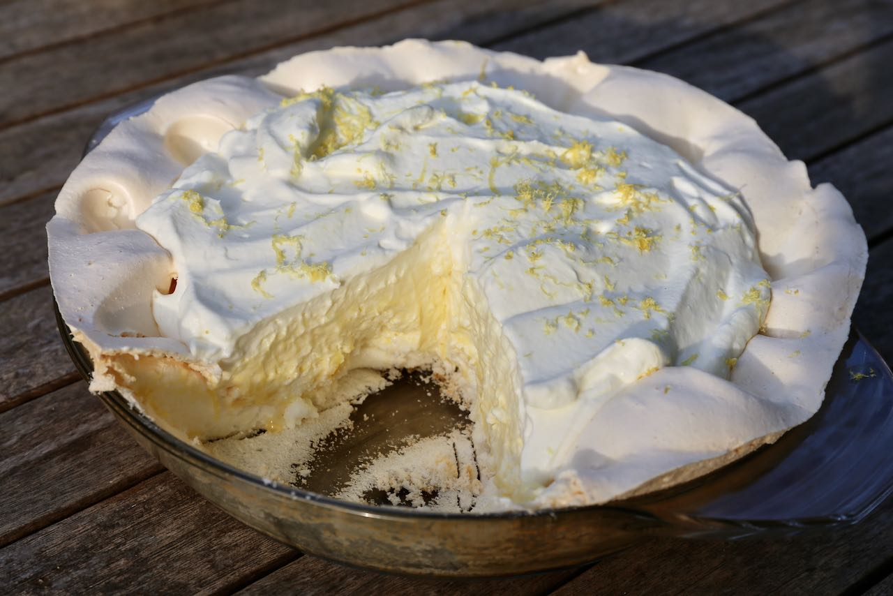 Serve our favourite cold Gluten Free Pie topped with lemon zest.