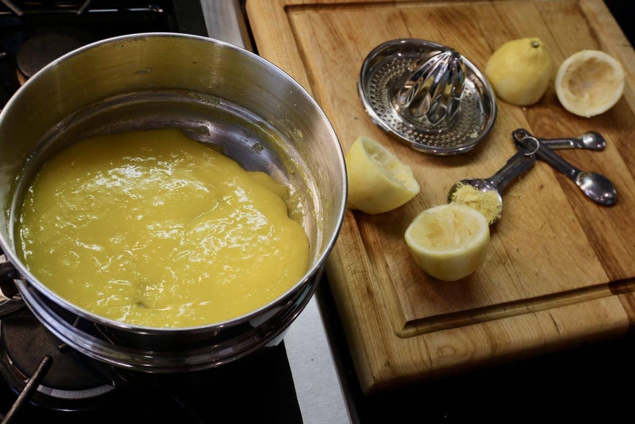 Prepare Lemon Angel Pie curd in a double boiler.