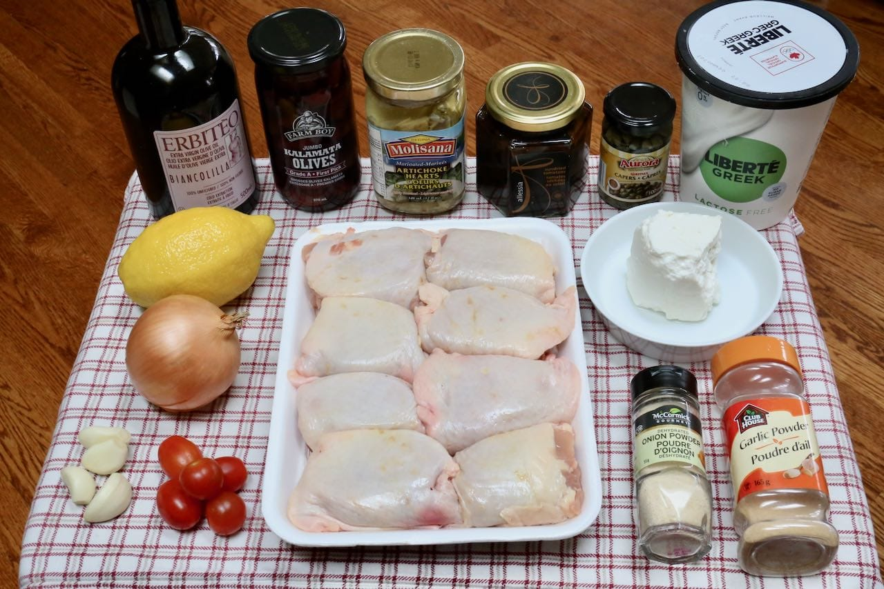Ingredients you'll need to make Baked Mediterranean Chicken Thighs.