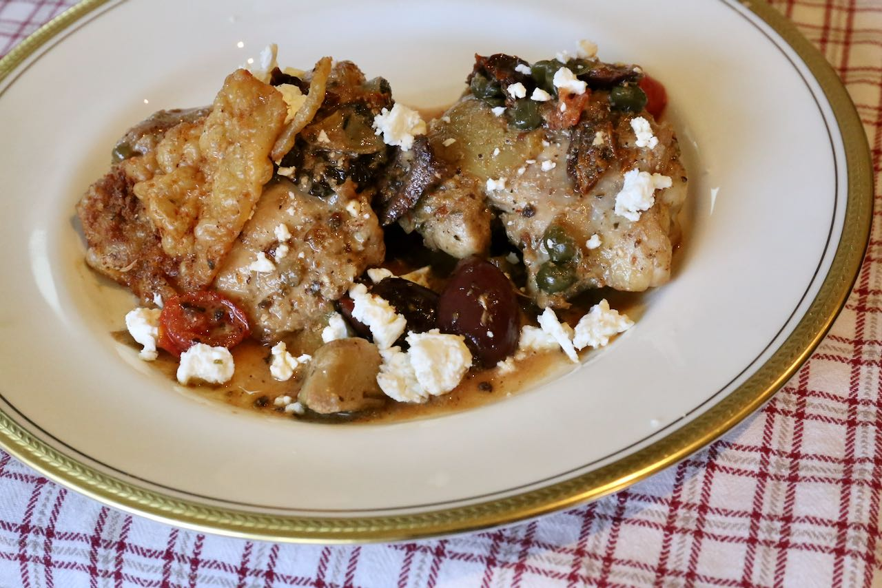 Serve a fresh Greek Salad with homemade Mediterranean Chicken Thighs.