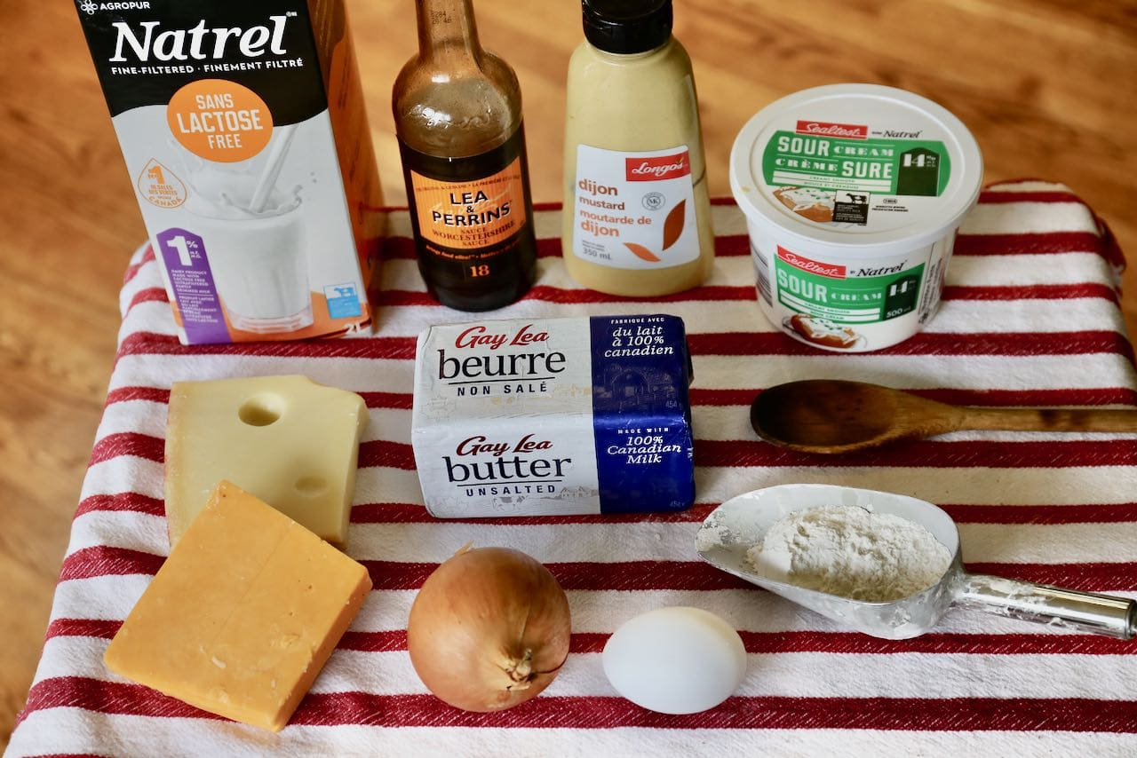 Ingredients you'll need to make Old School Cheese and Onion Pie.